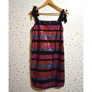 NWT k/lab Striped Sequin Sparkle Dress XS
